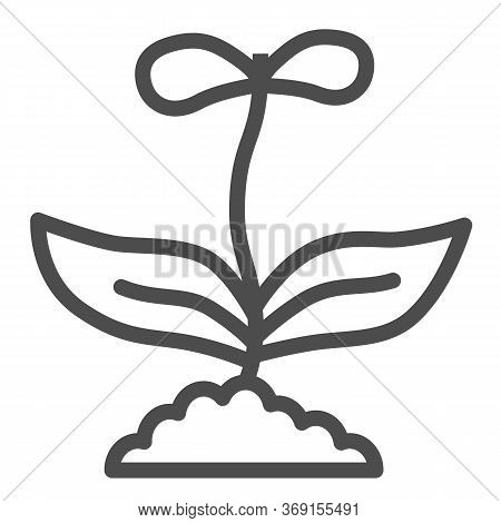 Flower With Two Petals Line Icon, Floral Concept, Spring Flower Blossom Sign On White Background, Gr