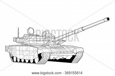 Adult Line Art Military Tank Coloring Page For Book And Drawing. War Modern Panzer. Vector Illustrat