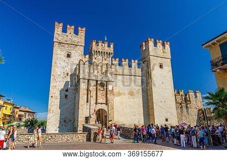 Sirmione, Italy, September 11, 2019: Scaligero Castle Castello Fortress From Scaliger Era, Historica