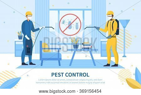 Two Workers Doing Pest Control In A Home With Tanks And Sprayers With A Pest Eradication Icon In The