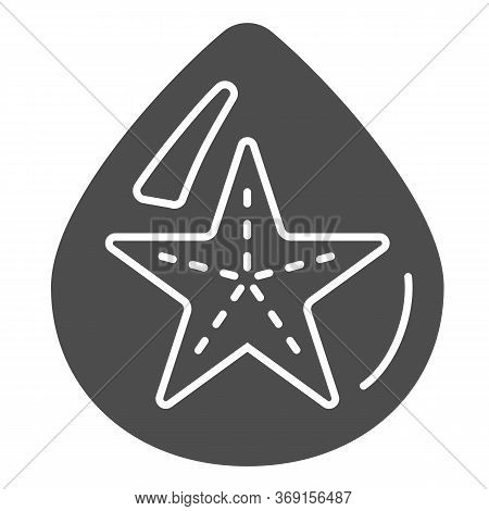 Starfish In Drop Of Water Solid Icon, Summer Concept, Starfish Sign On White Background, Droplet Wit