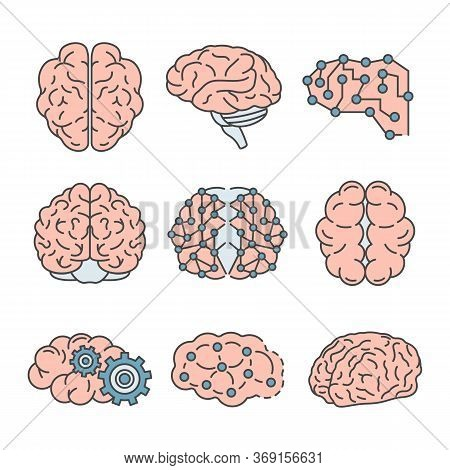 Memory Brain Icon Set. Outline Set Of Memory Brain Vector Icons For Web Design Isolated On White Bac