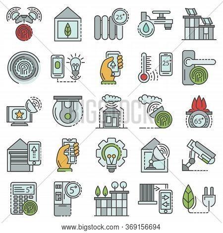 Intelligent Building System Icon Set. Outline Set Of Intelligent Building System Vector Icons For We