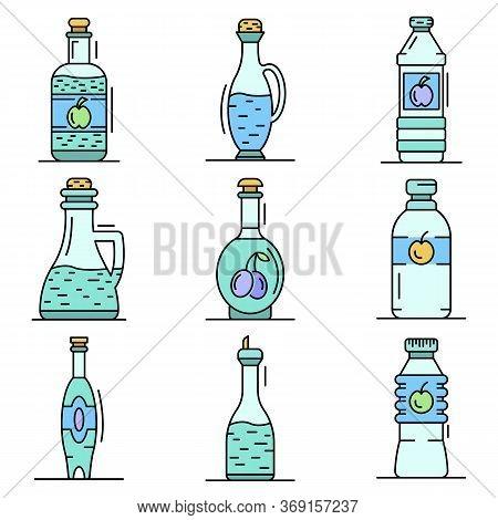Vinegar Icon Set. Outline Set Of Vinegar Vector Icons For Web Design Isolated On White Background