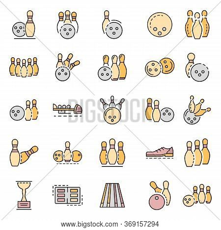 Bowling Icon Set. Outline Set Of Bowling Vector Icons For Web Design Isolated On White Background