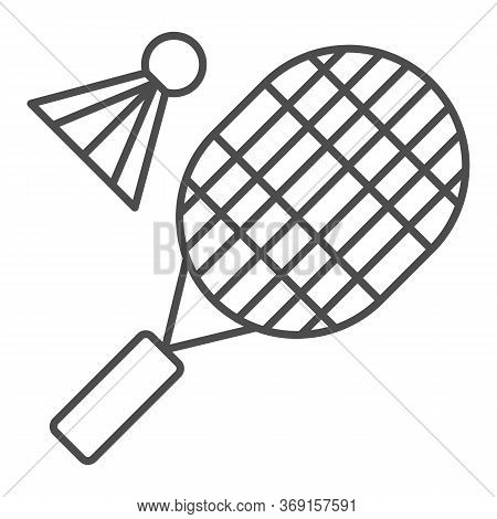 Racket And Shuttlecock Thin Line Icon, Sport Concept, Badminton Sign On White Background, Badminton