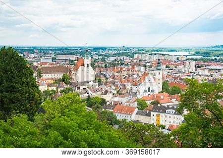 Krems In Lower Austria. View To The City And The Piaristenkirche And The Dom Der Wachau Churches.