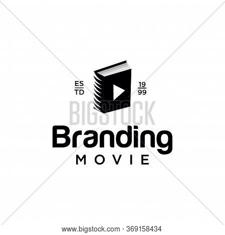 Movie Video Cinema Cinematography Film Production Logo With Book Illustration In Isolated White Back