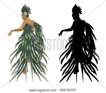 Digitally Rendered 3d Woman Wears Carnival Costume Made Of Peacock Feathers Illustration.