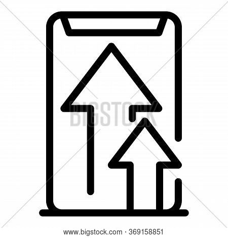 Smartphone Upload Data Icon. Outline Smartphone Upload Data Vector Icon For Web Design Isolated On W