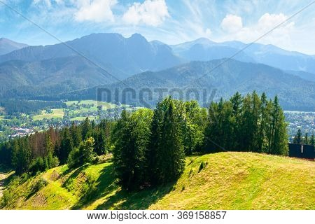 Zakopane Summer Landscape. Beautiful View From Gubalowka In To The Distant Tatra  Mountains. Popular