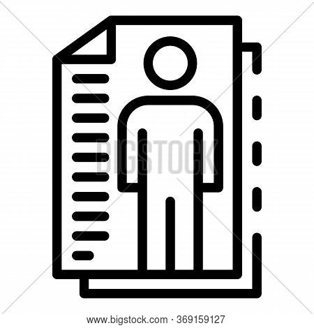 Personal Cv Papers Icon. Outline Personal Cv Papers Vector Icon For Web Design Isolated On White Bac