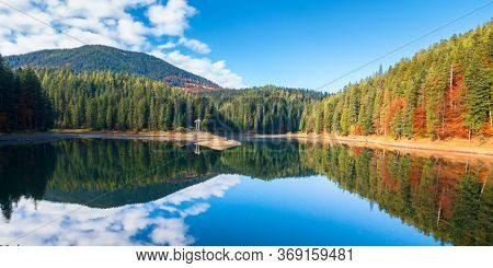 Synevyr Lake At Foggy Sunrise. Misty Mountain Landscape In Autumn. Forest Reflecting In The Water. M