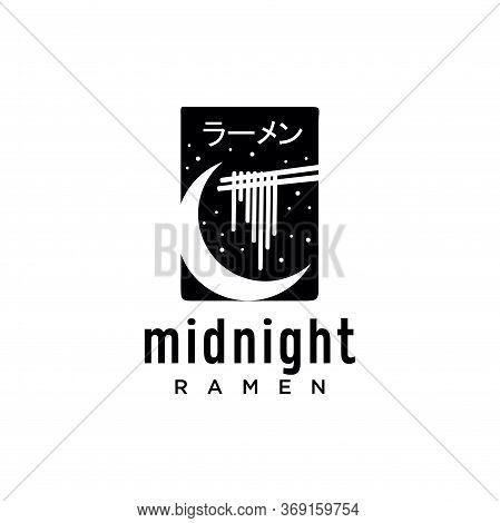 Midnight Ramen Logo Black Design Vintage Hipster Retro. Japanese Ramen Logo Design Template