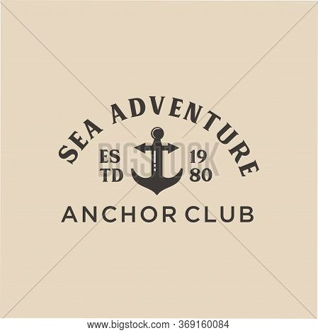 Vintage Anchor Logo Graphic Design Template. Nautical Logo Badges And Labels Royalty Free Cliparts,