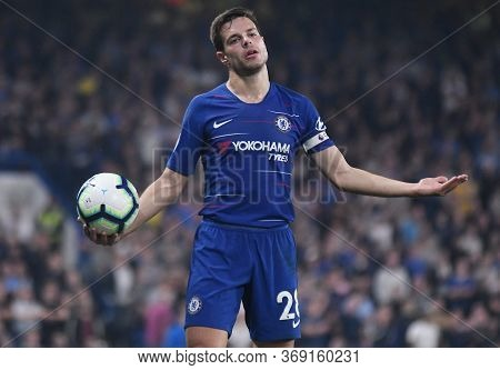 London, England - April 22, 2019: Cesar Azpilicueta Of Chelsea Pictured During The 2018/19 Premier L