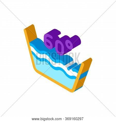 Laundry Sixty Degrees Celsius Vector Isometric Sign. Color Isolated Symbol Illustration
