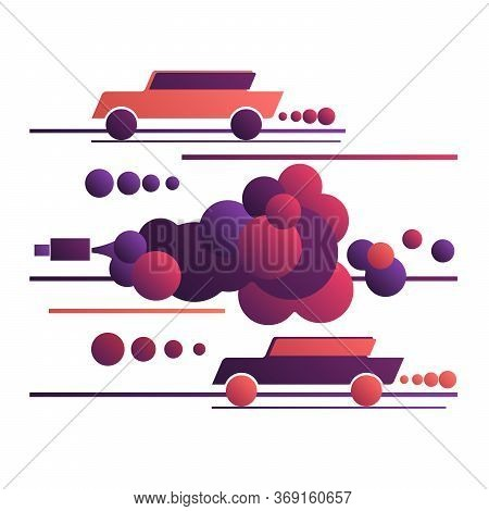 Cars In Toxic Clouds Of Exhaust. Environmental Pollution By Car Exhaust Gases, Poisoned Air. Traffic