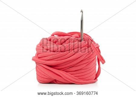 Roll Of Textile Yarn And Metal Crochet Hook Isolated On White Background On White
