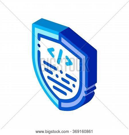 Coding Antivirus Program Vector Isometric Sign. Color Isolated Symbol Illustration