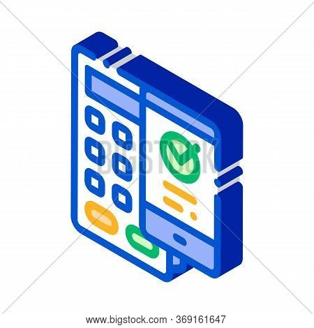Payment Terminal Smartphone Vector Isometric Sign. Color Isolated Symbol Illustration