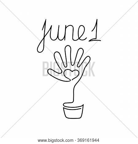 June 1. Continuous Line Art. One Line Drawn. Childrens Hand Are Palms. . Hand Drawn Vector Illustrat