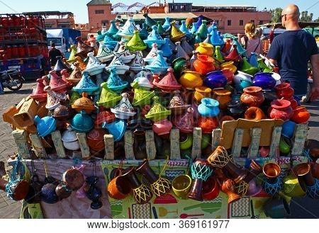 Marrakesh, Morocco - 12 October, 2019: Bright Colorful Miniature Tajines For Souvenir In The Street