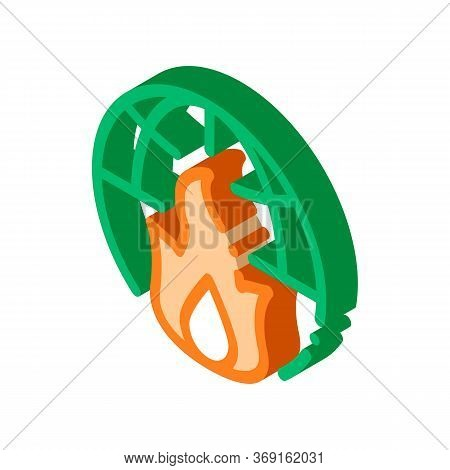 Wilderness Fire Planet Earth Vector Isometric Sign. Color Isolated Symbol Illustration