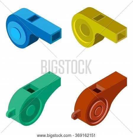 Whistle Icon. Set Of 4 Isometric Whistles Isolated On A White Background. Illustration For Web Desig