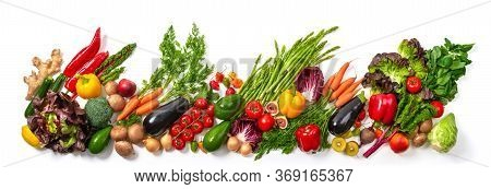 Arrangement Of Fruits And Vegetables In Many Appetizing Colors In A Row, Concept For A Healthy Plant