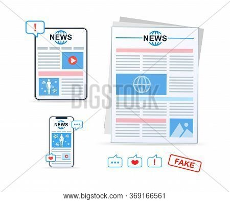 Online News, Newspaper, News Website. News Article. Vector Icons.
