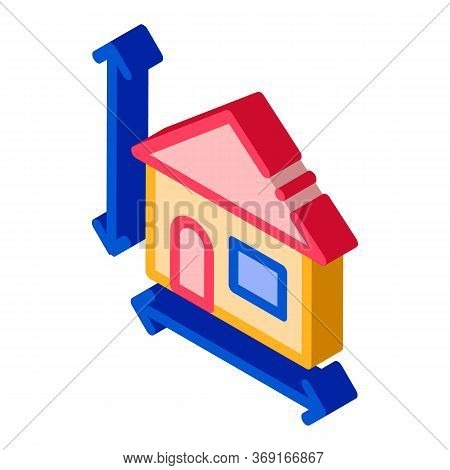 House Size Height And Width Vector Isometric Sign. Color Isolated Symbol Illustration