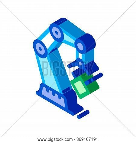 Mechanic Robot Transportation Crane Vector Isometric Sign. Color Isolated Symbol Illustration