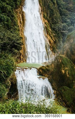 Two Level Natural Waterfall Chiflon In Chiapas State Of Mexico