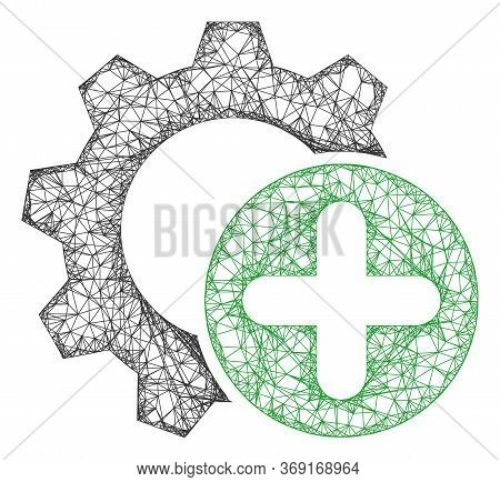 Web Mesh Add Settings Gear Vector Icon. Flat 2d Carcass Created From Add Settings Gear Pictogram. Ab
