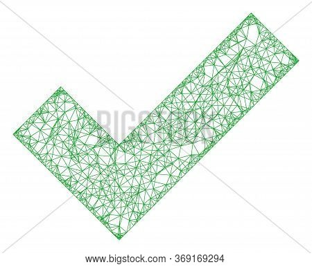 Web Net Apply Tick Vector Icon. Flat 2d Carcass Created From Apply Tick Pictogram. Abstract Carcass