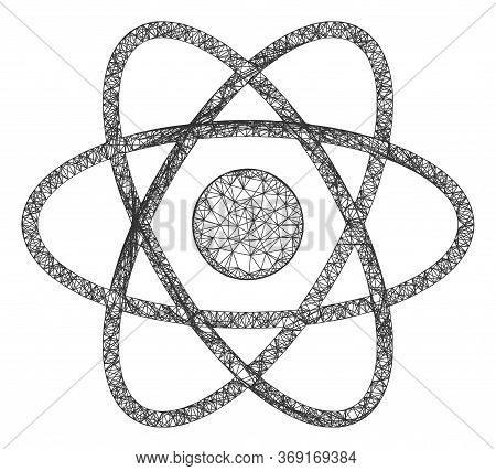 Web Mesh Atom Vector Icon. Flat 2d Carcass Created From Atom Pictogram. Abstract Carcass Mesh Polygo