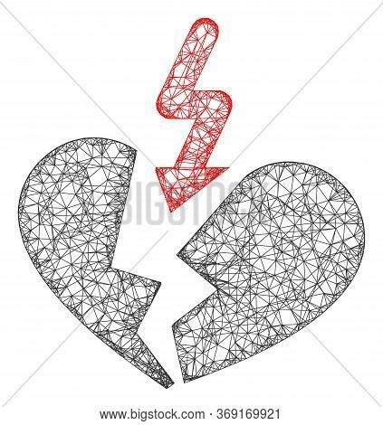 Web Net Breakup Heart Vector Icon. Flat 2d Carcass Created From Breakup Heart Pictogram. Abstract Fr