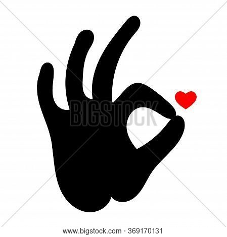Ok Sign. Abstract Symbol With Heart Shape And Ok Hand Sign. Cardiology Medical Center, Logo Of A Med
