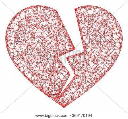 Web Net Broken Heart Vector Icon. Flat 2d Carcass Created From Broken Heart Pictogram. Abstract Carc