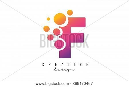 F Letter Logo With Blue Dots Design. Letter F Logotype With Bubbles Bunch. Corporate Branding Identi