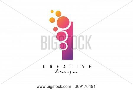 I Letter Logo With Blue Dots Design. Letter I Logotype With Bubbles Bunch. Corporate Branding Identi