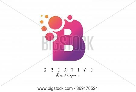 B Letter Logo With Blue Dots Design. Letter B Logotype With Bubbles Bunch. Corporate Branding Identi