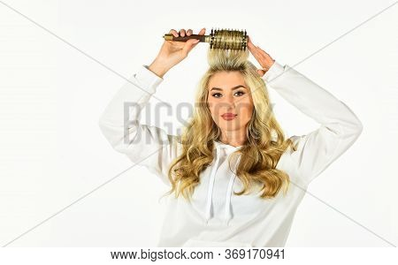 Pretty Woman Brushing Hair Isolated On White Background. Long Hair. Hair Care. Hairdresser Salon. Pr