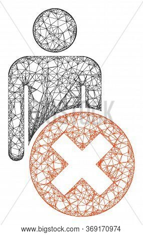 Web Network Delete Man Vector Icon. Flat 2d Carcass Created From Delete Man Pictogram. Abstract Carc