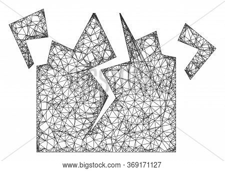 Web Network Destruction Vector Icon. Flat 2d Carcass Created From Destruction Pictogram. Abstract Ca