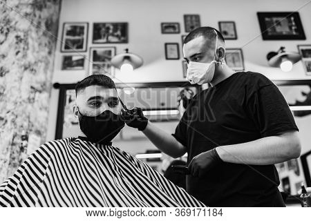 Haircut In Quarantine. Haircut In Masks From The Virus. Hair And Health Care.