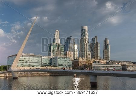 Buenos Aires, Puerto Madero, Argentina - December 8, 2019: Daytime Image Of Puerto Madero.