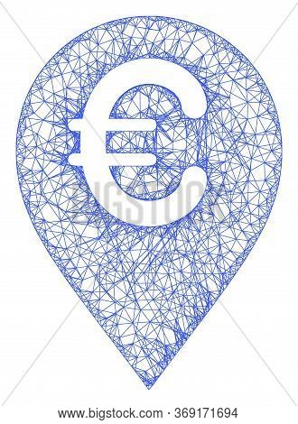 Web Mesh Euro Map Marker Vector Icon. Flat 2d Carcass Created From Euro Map Marker Pictogram. Abstra