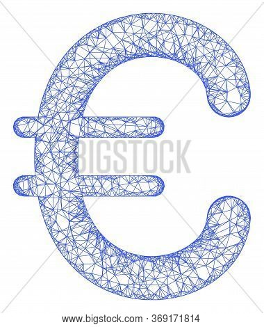 Web Mesh Euro Symbol Vector Icon. Flat 2d Carcass Created From Euro Symbol Pictogram. Abstract Carca